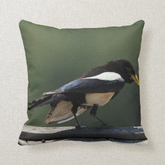Yellow-Billed Magpie Throw Pillow