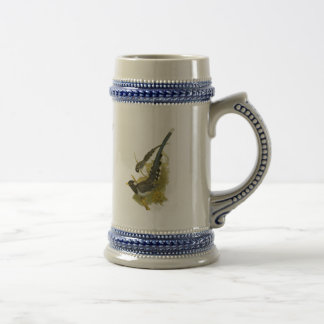Yellow-billed (or Gold-billed) Blue Magpie Beer Stein
