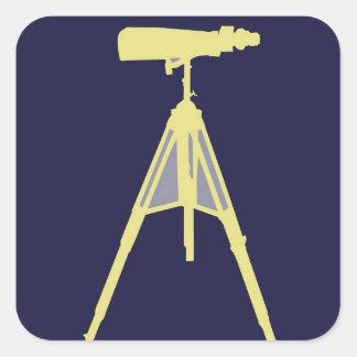 Yellow Binoculars in Navy Blue background. Square Sticker