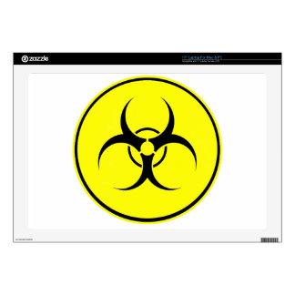 """Yellow bio-hazard logo 17"""" laptop decal"""