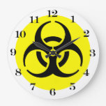 Yellow BioHazard Symbol Clock