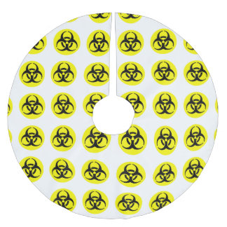 Yellow BioHazard Symbol Brushed Polyester Tree Skirt