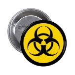 Yellow Biohazard Symbol Pinback Button
