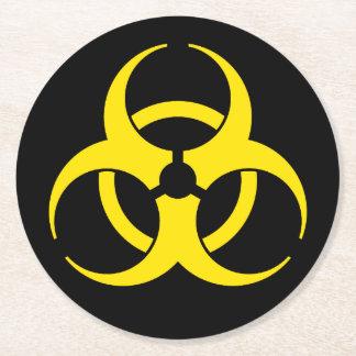 Yellow Biohazard Symbol Round Paper Coaster