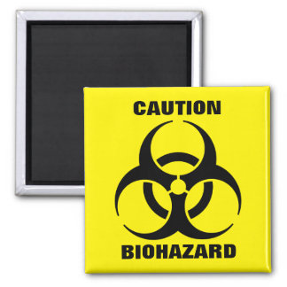 Yellow Biohazard Symbol Warning Sign 2 Inch Square Magnet