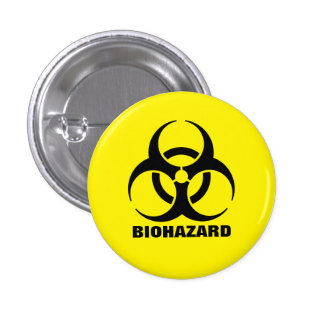 Yellow Biohazard Symbol Warning Sign Button