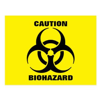Yellow Biohazard Symbol Warning Sign Postcard