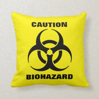 Yellow Biohazard Symbol Warning Sign Throw Pillow