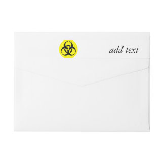 Yellow BioHazard Symbol Wraparound Return Address Label