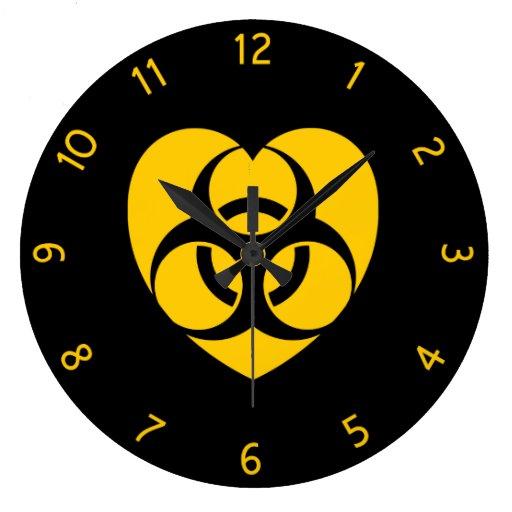 Yellow Biohazard Warning Heart Round Clock