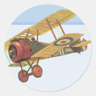 Yellow Biplane Classic Round Sticker
