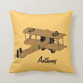 yellow biplane kids room toss pillow