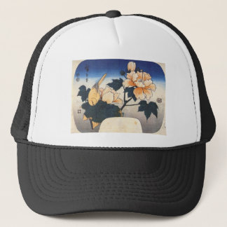 Yellow bird and cotton rose by Hiroshige Trucker Hat