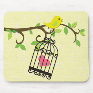 Yellow Bird, Birdcage Mouse Pad