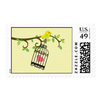 Yellow Bird Birdcage Postage Stamp