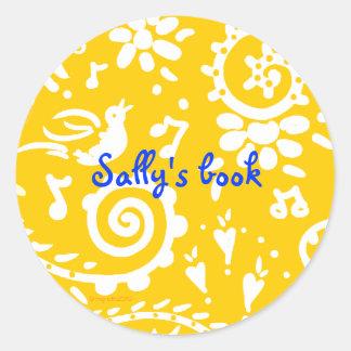 yellow bird bookplate classic round sticker
