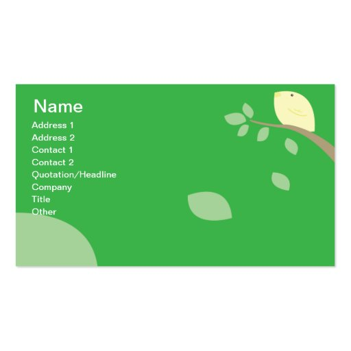 Yellow Bird - Business Double-Sided Standard Business Cards (Pack Of 100)