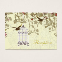 yellow bird cage, birds wedding reception cards
