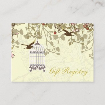 yellow bird cage love birds gift registry cards