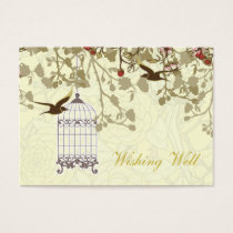 yellow bird cage, love birds wishing well cards
