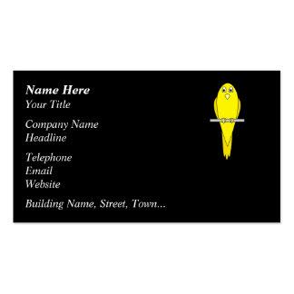 Yellow Bird. Canary. On Black. Business Card