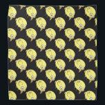 "Yellow bird cartoon bandana<br><div class=""desc"">A cute and funny yellow bird cartoon on black background.</div>"