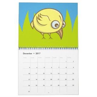 Yellow bird cartoon calendar