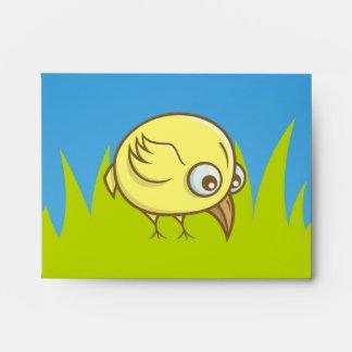 Yellow bird cartoon envelope