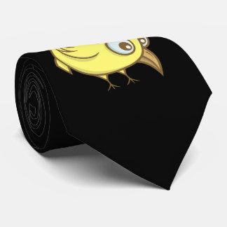 Yellow bird cartoon neck tie