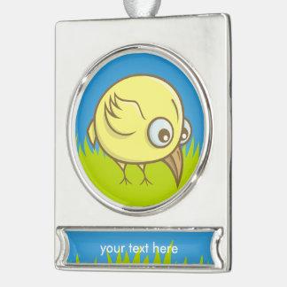 Yellow bird cartoon silver plated banner ornament