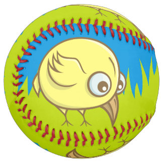 Yellow bird cartoon softball