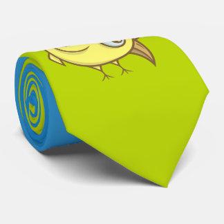Yellow bird cartoon tie
