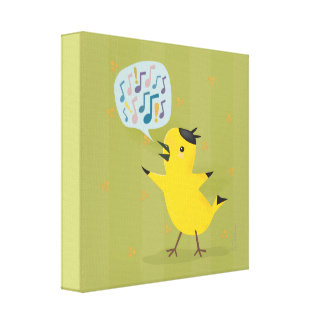 Yellow Bird Excited Warbler Canvas Print