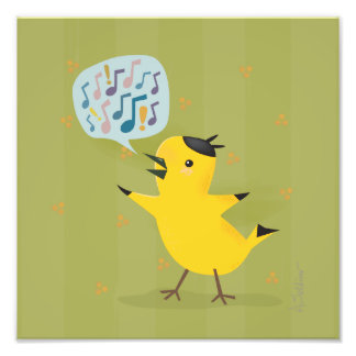 Yellow Bird Excited Warbler Photo Print