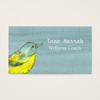 Yellow Bird Gray Watercolor Business Card