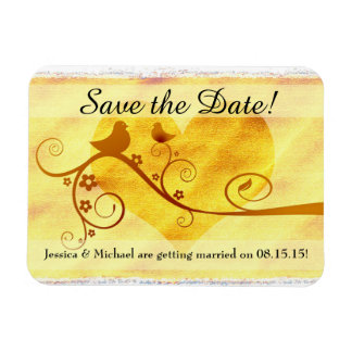 Yellow Bird & Heart Save the Date Magnet