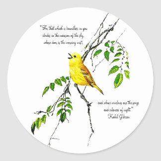 Yellow Bird Of Spring Blessings Classic Round Sticker
