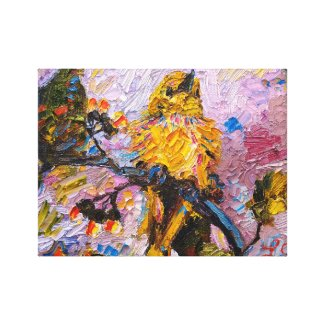 Yellow Bird Oil Painting Wrapped Canvas wrappedcanvas