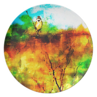 Yellow Bird On A Limb Texas Art Dinner Plate