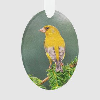 Yellow Bird on Branch Ornament