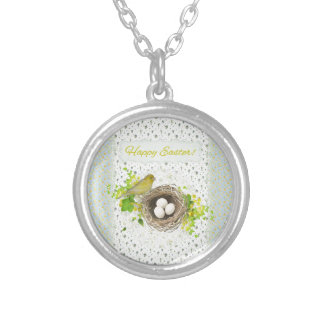 Yellow Bird on Nest of Eggs, Flowered Background Silver Plated Necklace