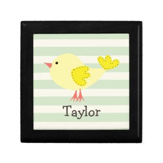 Yellow Bird on Pastel Green Stripes Jewelry Box