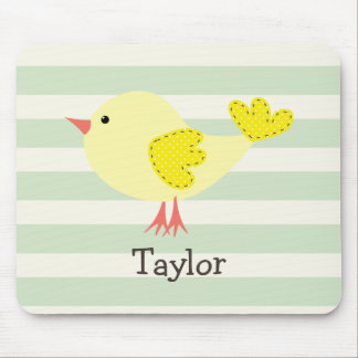 Yellow Bird on Pastel Green Stripes Mouse Pad