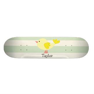 Yellow Bird on Pastel Green Stripes Custom Skateboard