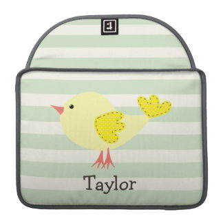 Yellow Bird on Pastel Green Stripes Sleeve For MacBook Pro