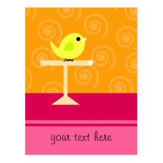 Yellow Bird on Perch Postcard