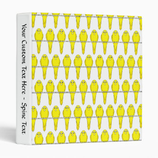 Yellow Bird Pattern. Canaries. 3 Ring Binder