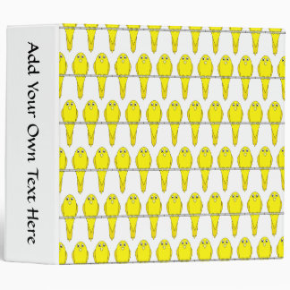 Yellow Bird Pattern. Canaries. Binder