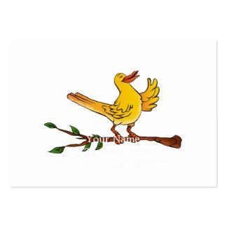 yellow bird singing cartoon large business card