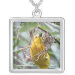Yellow Bird Square Pendant Necklace